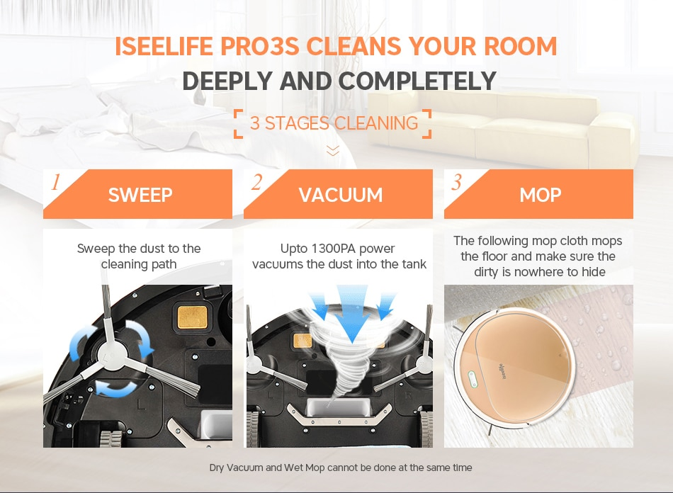 iSeelife PRO3S Smart Robotic Vacuum Cleaner